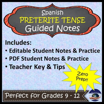 Spanish Preterite Tense - Guided Notes and Key