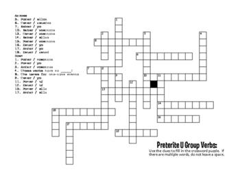 Spanish Preterite U Group Puzzle Pack