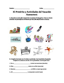 Spanish Preterite Verb and Free Time Activities Assessment