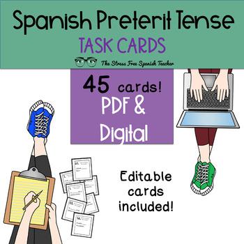 Spanish Preterite Verbs Task Cards! 45 Cards! Editable! (-