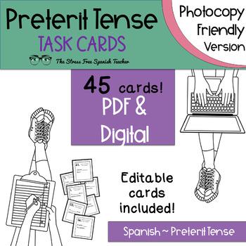Spanish Preterit Verbs Task Cards! -ar, -er, -ir 45 cards! INK FRIENDLY SET