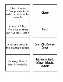 Spanish Preterite Y Group Matching Game