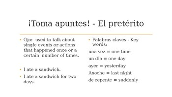 Spanish Preterite and Imperfect - Review and Practice