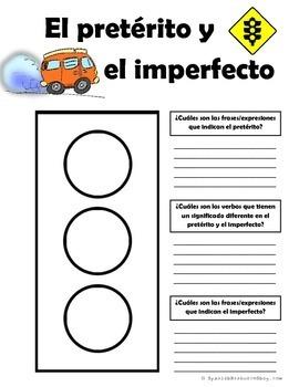 Spanish Preterite and Imperfect Traffic Light Phrase Indicator