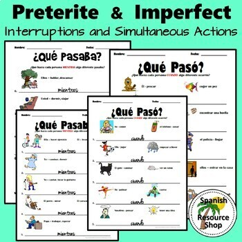 Spanish Preterite and Imperfect Worksheet Bundle