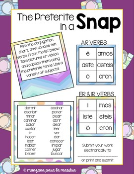 Spanish Preterite in a Snap Fun Activity Editable el pretérito lesson plan