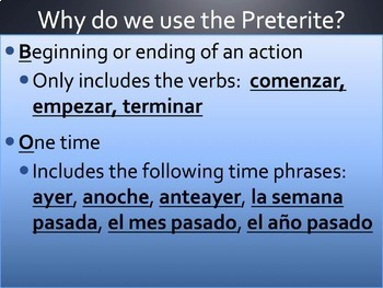 Spanish Preterite vs Imperfect: All Reasons Review Powerpoint & Notes 7