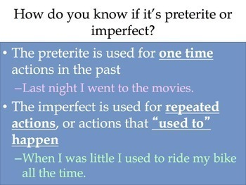 Spanish Preterite vs Imperfect: Preterite Review (One Time) Powerpoint & Notes 1