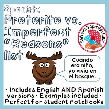 "Spanish - Preterite vs Imperfect - ""Reasons"" List"