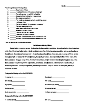 Spanish Preterite vs Imperfect Worksheet Bundle by Senorita Piscina