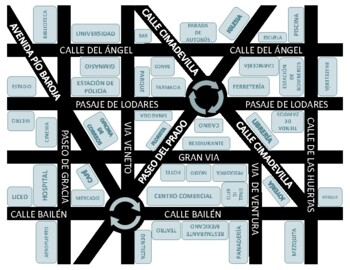 Spanish - Printable City/Town Map (Directions & Prepositions)
