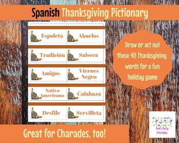 Spanish Printable Thanksgiving Game Cards for Pictionary, Charades