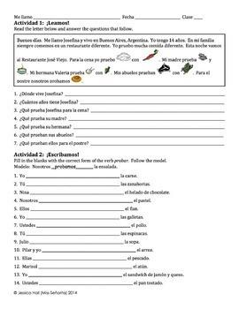 Spanish Probar Writing Activities with Food Activities