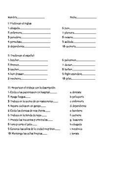 Spanish Profesiones Exam