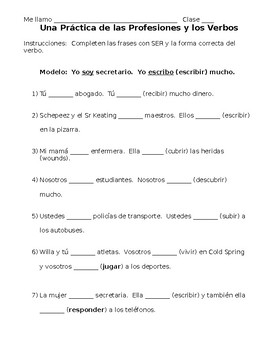 Spanish- Profession and Verb Conjugation Practice