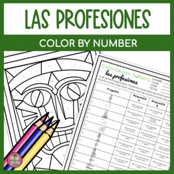 Spanish Professions Activity   Color by Number   Colorea por número