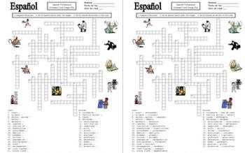 Spanish Professions Crossword Puzzle, IDs, and Vocabulary - Profesiones