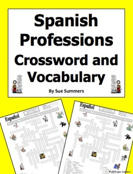 Spanish Professions Crossword Puzzle, IDs, and Vocabulary - Profesiones