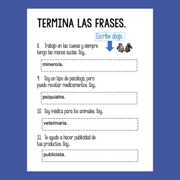 Spanish Professions Las profesiones Google Drive Activities for levels 2 & 3