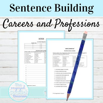 Spanish Present Tense Career Vocab Worksheet