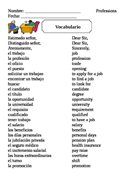 Spanish Professions Vocabulary