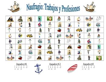 Spanish Professions Vocabulary Speaking/Writing  Activity (Naufragio)