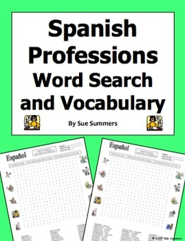 Spanish Professions Word Search Puzzle, IDs, and Vocabulary - Profesiones