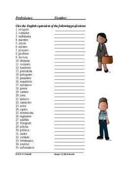 Spanish Professions Worksheet: Profesiones (Spanish 2+)