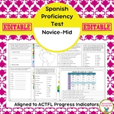 Spanish Proficiency or Placement Test:  Novice-Mid