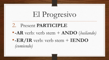 Spanish Progressive Tense notes and presentation