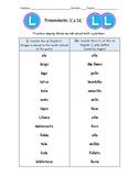 Spanish Pronunciation: L & LL - Rules, Practice Sheets & F