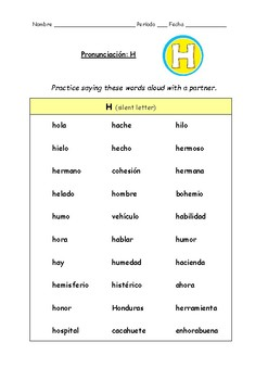 Spanish Pronunciation: Letter H - Rules, Practice Sheets & Flashcards