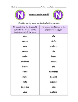 Spanish Pronunciation: N & Ñ - Rules, Practice Sheets & Flashcards