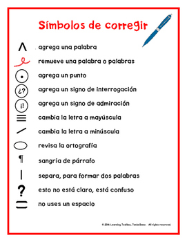 Spanish Proofreading Marks Anchor Chart