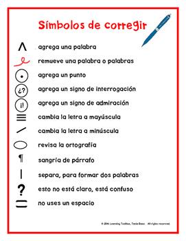 Spanish Proofreading Marks Anchor Chart