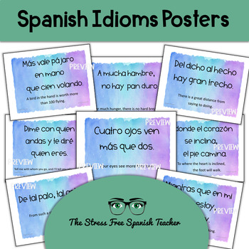 Spanish Proverbs Posters  (Idioms, Dichos)