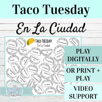 Spanish Pueblos y Ciudades TACO TUESDAY Vocabulary Game (City + Town Vocab)