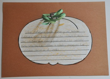 Spanish Pumpkin Writing Stem and Paper Freebie