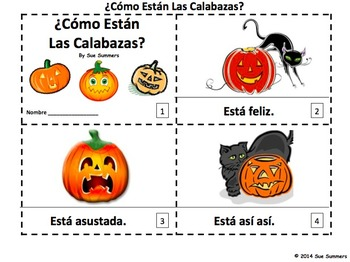Spanish Pumpkins and Feelings 2 Emergent Reader Booklets