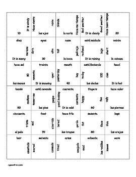 Spanish Puzzle- Numbers, Weather, Parts of the Body, Emotions and Descriptions