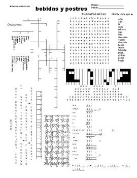 Spanish Puzzle Sheet, Substitute plans, bebidas y postres