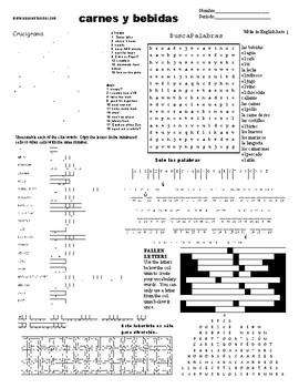 Spanish Puzzle Sheet, Substitute plans, carnes y bebidas