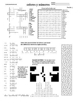 Spanish Sub Plans, Puzzle Sheet, colores y números