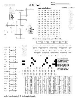 Spanish Sub Plans, Puzzle Sheet, el fútbol