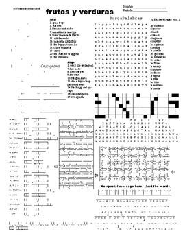 Spanish Sub Plans, Puzzle Sheet, frutas y verduras