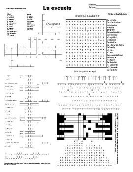 Spanish Sub Plans, Puzzle Sheet, la escuela
