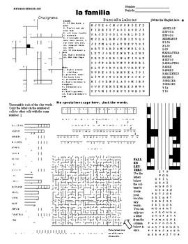 Spanish Puzzle Sheet, Substitute plans, la familia