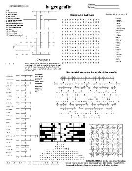 Spanish Sub Plans, Puzzle Sheet, la geografía