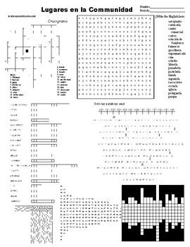 Spanish Sub Plans, Puzzle Sheet, lugares en la comunidad