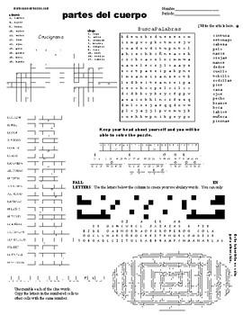 Spanish Sub Plans, Puzzle Sheet, partes del cuerpo